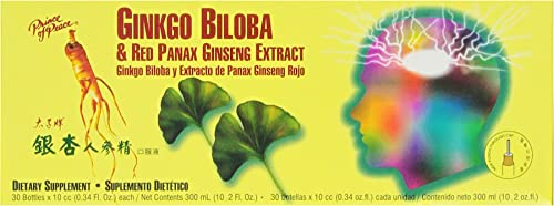 Prince of Peace Ginkgo Biloba and Red Panax Ginseng Extract,30 bottles 0.34 oz