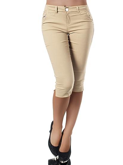 Diva Jeans N956 Damen Caprihose Treggings Leggings Stoffhose Sommerhose Knielang 34 Capri