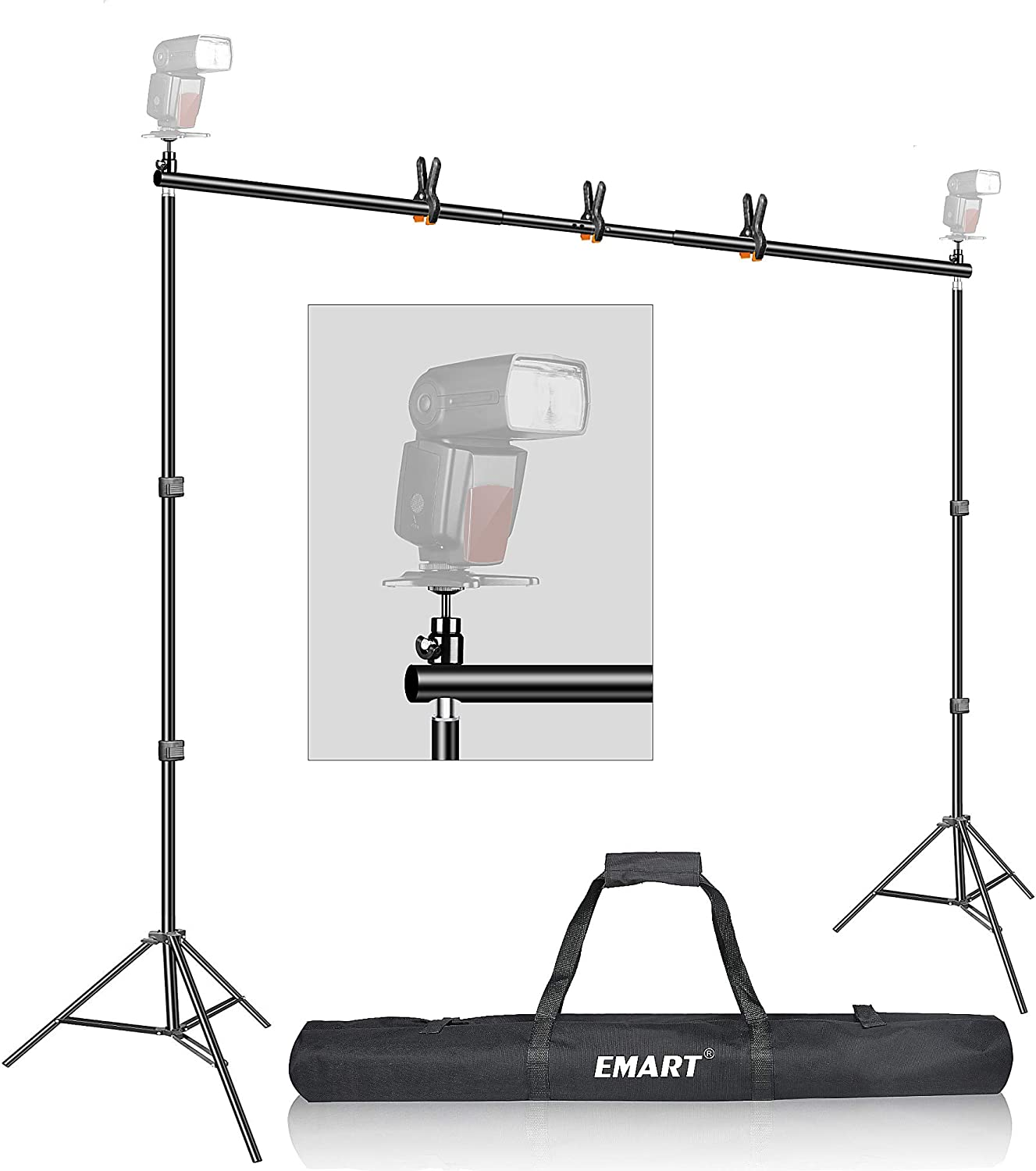 Backdrop Stand, Emart 7x10ft Photo Video Studio Muslin Background Stand Backdrop Support System Kit with Mini Ball Head, Photography Studio