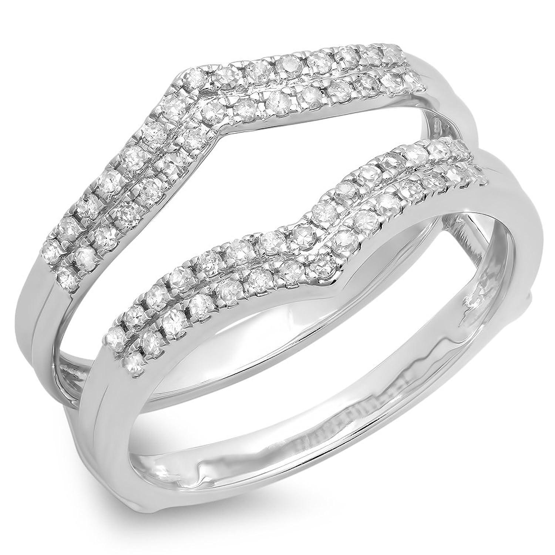 0.30 Carat (ctw) 14K Gold Round Diamond Anniversary Wedding Band Enhancer Guard Double Ring 1/3 CT