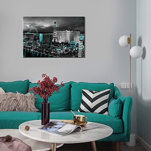 Las Vegas Wall Art Skyline Home Decoration USA Modern Ferris wheel Landscape Finance Center Aerial view Canvas Print Paintings Office Black and Cyan City Photos Pictures Register 24×36 Inches 1 Pc