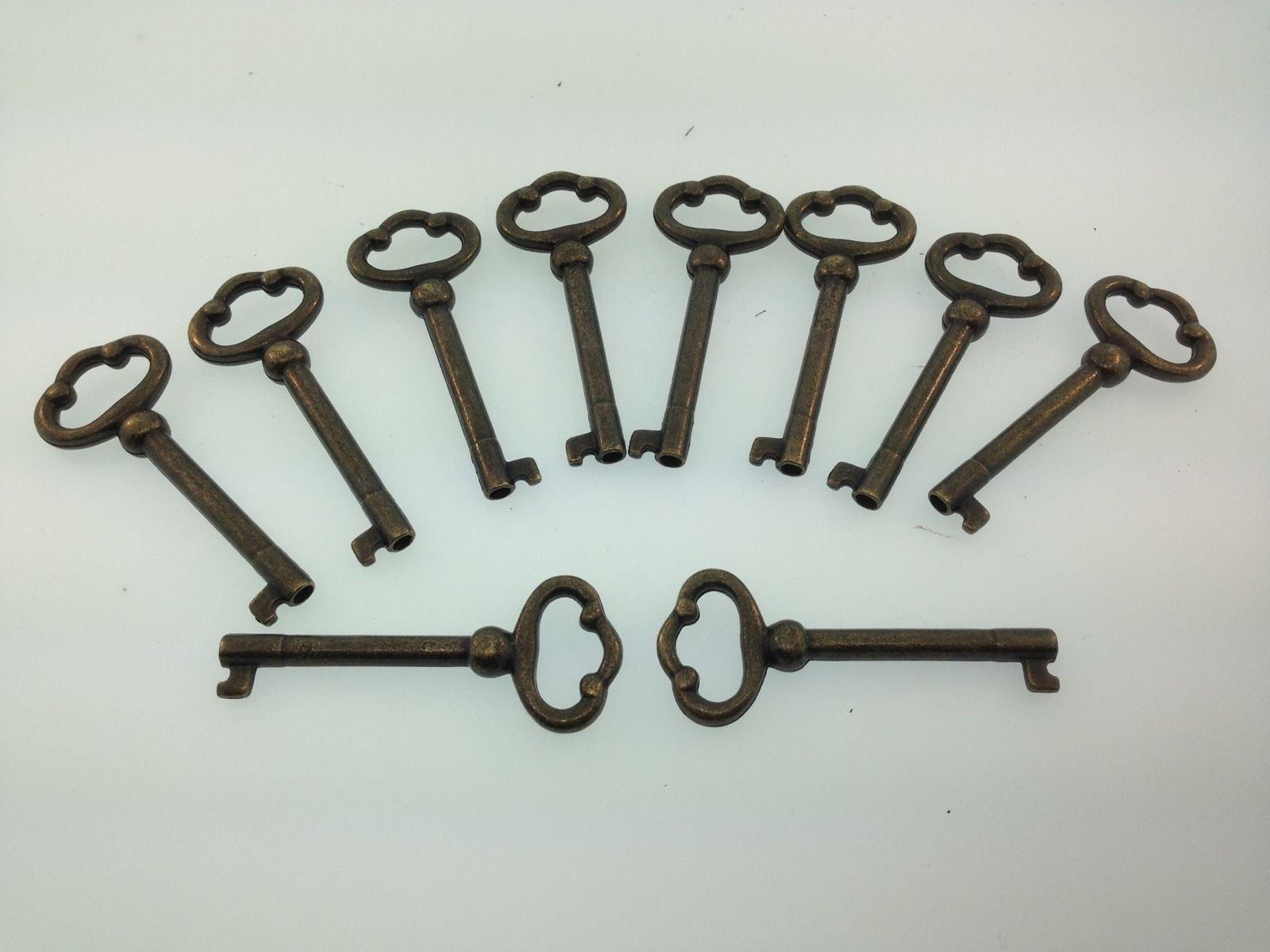 Grandfather clock or Curio cabinet door key set of 10 Antique Finish