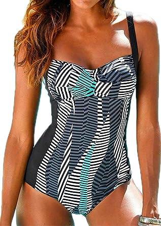 0daaff60365c5b Socluer Damen Badeanzüge Push Up Rückenfrei Bauchweg Figurformende One  Piece Bademode Tankini Swimsuit,Grau Streifen