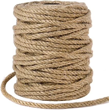 N//A 5mm Jute Twine,50M//164 Feet Strong Jute Rope,Twisted Thick Jute Twine String,for Wall Paintings,Chandeliers,DIY Cat Scratcher,Staircase Handrails,Artistic Wall Hanging Ropes,Handicrafts Cord
