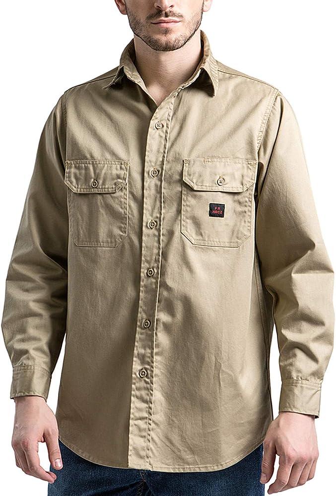 Titicaca FR Camisa de Trabajo Resistente al Fuego para Hombre, algodón Ligero, de Manga Larga, Color Caqui Beige Caqui L: Amazon.es: Ropa y accesorios
