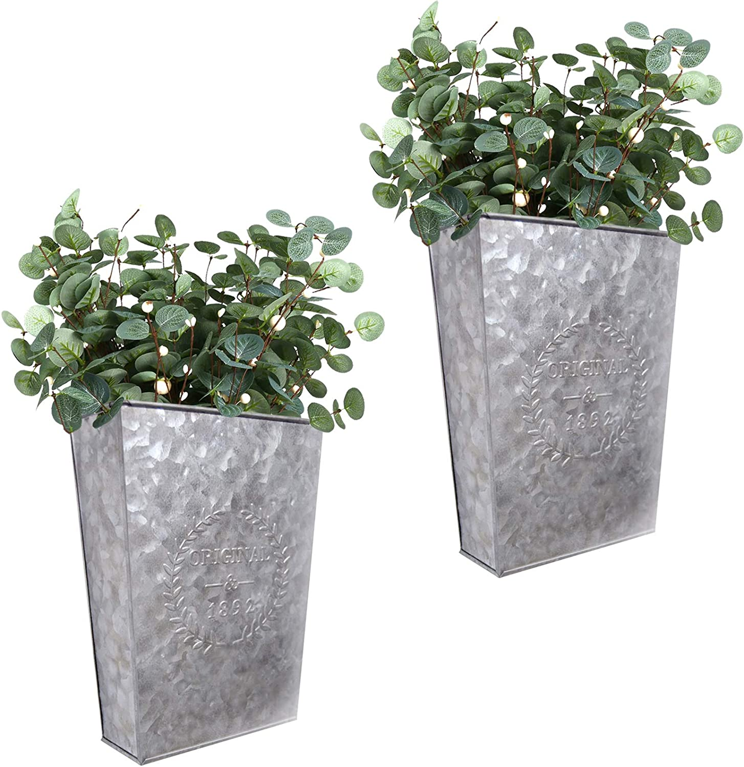 LESEN Galvanized Metal Wall Planter,Farmhouse Wall Decor Hanging Wall Vase Pocket Planters Flowers Holder Country Rustic Home Wall Decor,Set of 2…