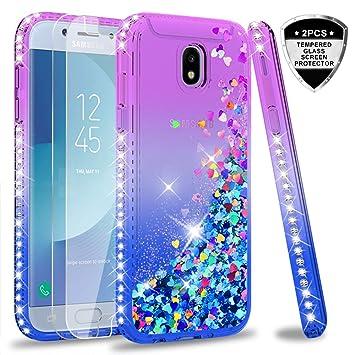 LeYi Funda Samsung Galaxy J5 2017 Silicona Purpurina Carcasa con [2-Unidades Cristal Vidrio Templado],Transparente Cristal Bumper Telefono Fundas Case ...