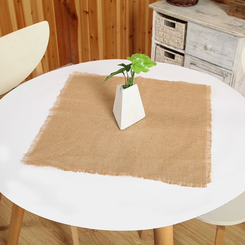10 Peice Table Overlays Center Piece Square Burlap Table Topper Center Perceptible Overlays, Burlap Placemats 16""