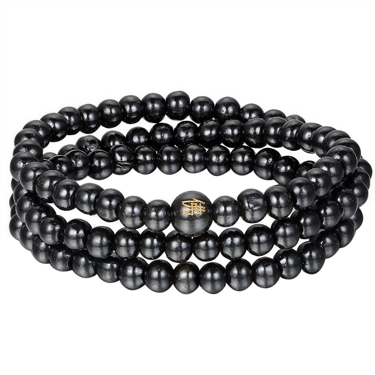 Herren Damen Wickelarmband Holz Perlen Armband Buddha Lange Armkette Armschmuck
