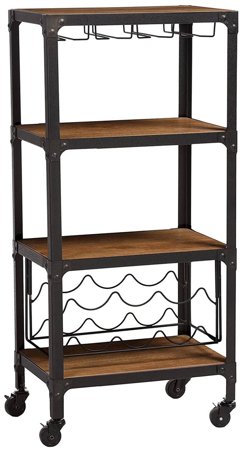 Baxton Studio Swanson Rustic Industrial Style Antique Textured Metal Distressed Wood Mobile Kitchen Bar Wine Storage Shelf, Black YLX-9033