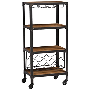 Baxton Studio Swanson Rustic Industrial Style Antique Textured Metal Distressed Wood Mobile Kitchen Bar Wine Storage Shelf, Black