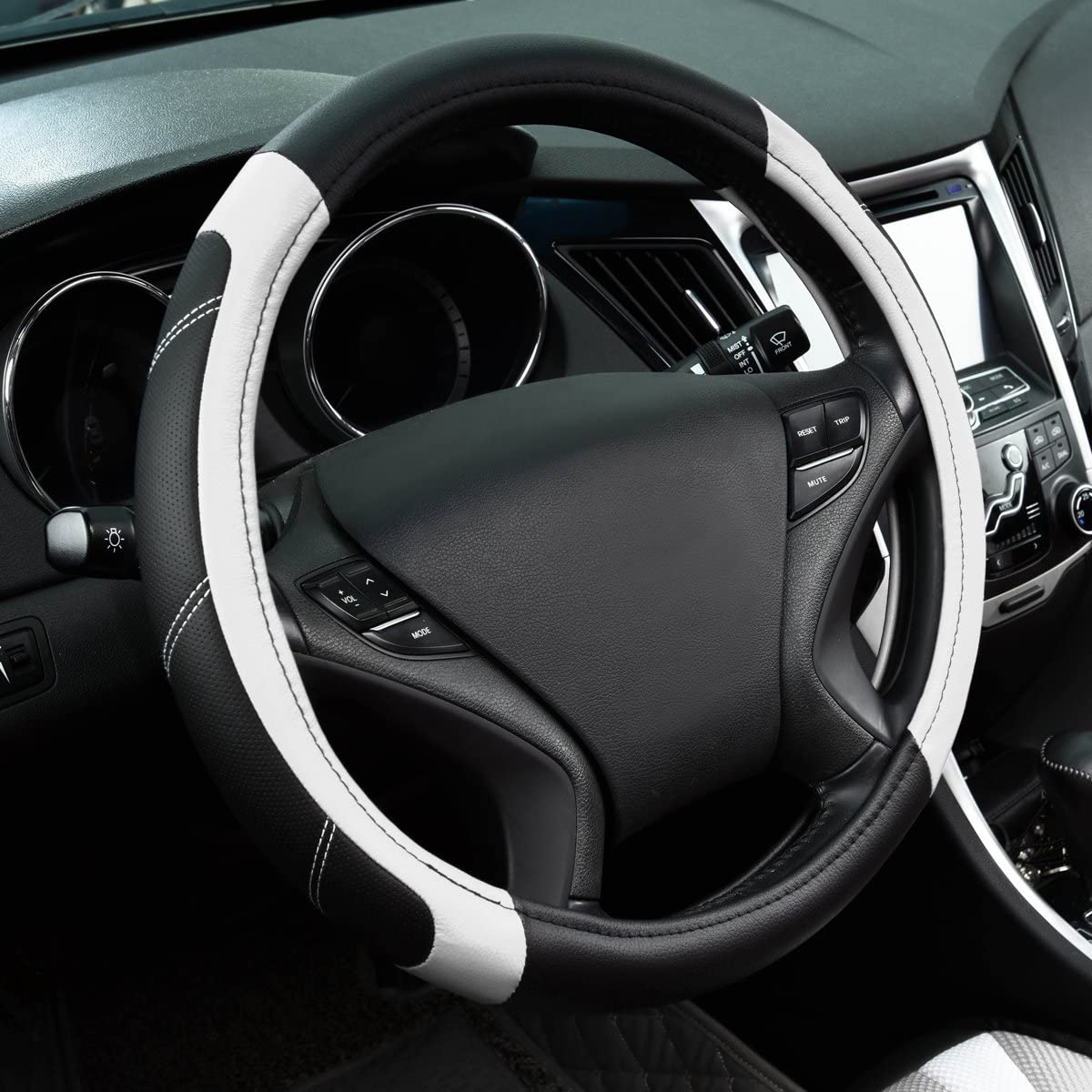 Black And Red CAR PASS Line Rider Leather Universal Fit Steering Wheel Cover,Fits for Trucks,Suvs,Cars,Sedan