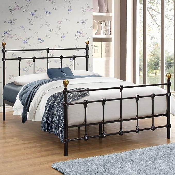 Happy Beds Atlas, base de cama de metal estilo tradicional, acabado de latón, con colchón de resortes, metal, negro, 4FT6 - Frame Only