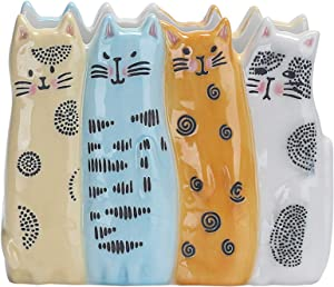 Bico Cartoon Cat Napkin Holder, Handpainted Stoneware, Dishwasher Safe