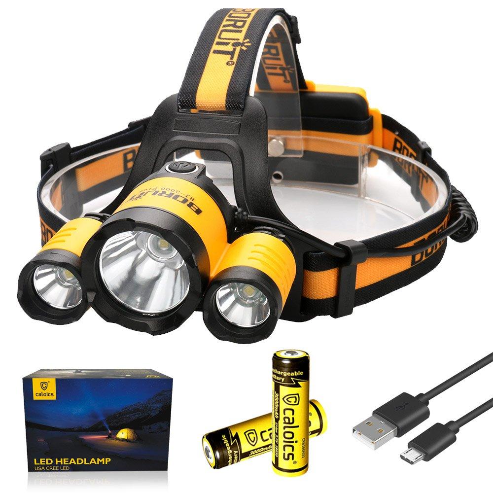 Boruit LED Headlamp 3xOriginal Cree XML T6 5000 Lumens Waterproof Headlight with Rechargeable 18650 Batteries Bright Adjustable Hands-Free Flashlight for Camping Hunting (RJ3000PLUS Yellow)