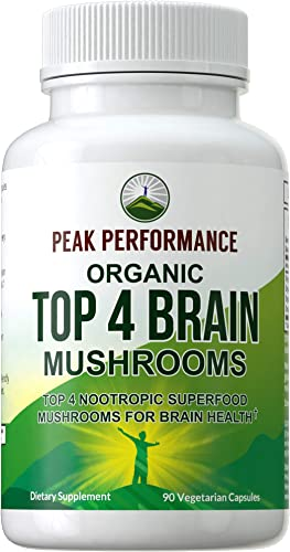 Mushroom Supplement – Top 4 Organic Brain Health USA Grown Mushrooms. Vegan Capsules with Lions Mane, Reishi, Cordyceps, Enoki. Extract Blend Nootropic Complex Pills for Focus, Memory, Cognition
