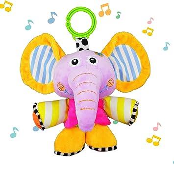 JAMSWALL Juguetes Musicales Elefante, Colgantes para cochecitos cunas de Peluche Animal Infantil para Arrastrar con Sonidos para Bebés recién Nacidos ...