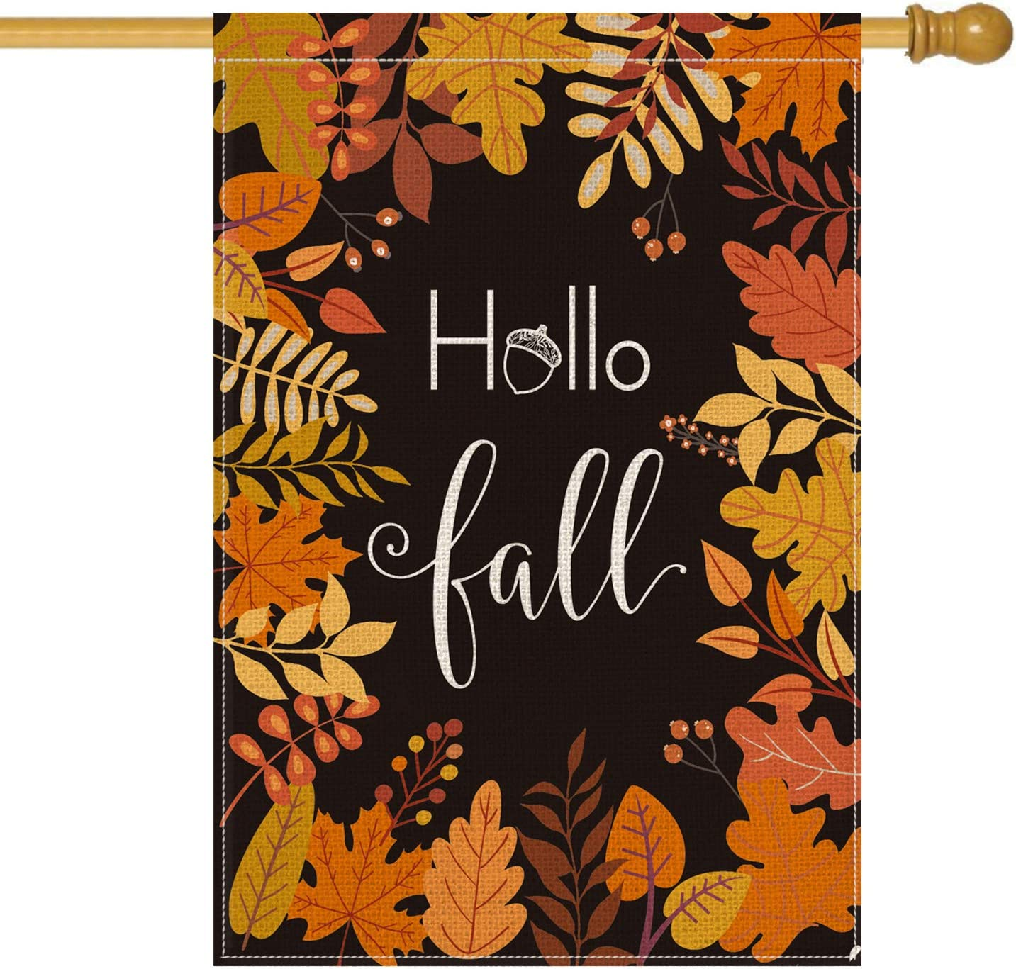 AVOIN Hello Fall Maple Leaf Leaves House Flag Vertical Double Sided, Seasonal Autumn Harvest Vintage Thanksgiving Rustic Yard Outdoor Decoration 28 x 40 Inch