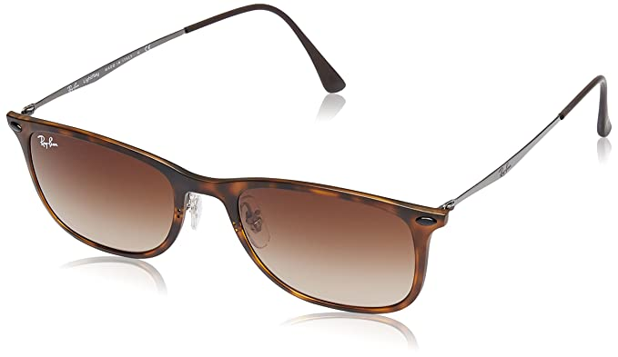 Ray-Ban Injected Man Sunglass Square, Matte Havana, 52mm