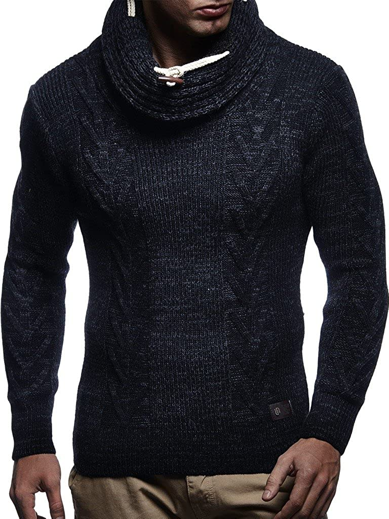 Leif Nelson LN7135 Mens Knitted Turtleneck Pullover