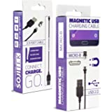 SOJITEK Universal Detachable Magnetic Charging 3.3 FT (2A) Cable with Micro USB Magnetic Connector for Micro USB 2.0 A Male to Micro B