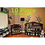 Nursery Crib Bedding Set, Frog Crib Bedding Set, 10 Count with Quilt, Bumper,Sheet,Crib Skirt,Toy Bag,Daiper Stacker/Organizer,Window Valances,Pillows(Green,Brown,Lime Green,White)