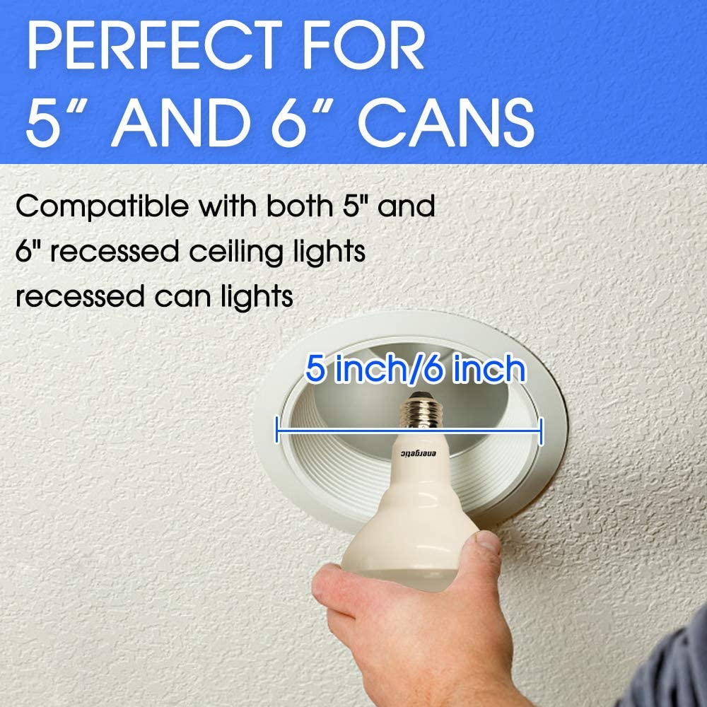CRI 90 65W Recessed Light Bulbs Daylight 5000K 750lm Energy Star /& UL Listed Dimmable 6 Pack BR30 LED Flood Lights Indoor