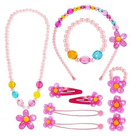 1f40f6f8db16 Hifot Joyas para niños Niñas Collar Pulsera Anillo Pendientes de Clip  Pinzas de Cabello Conjunto