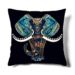 Happy Memories Decor Throw Pillow Cushion Cover, Classic Cashew Floral,Double Leopard Pattern,Floral Inspired Design and Cactus, Decorative Square Accent Pillow Case 1PCS (Blue Elephant)