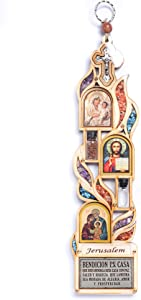 Anandashop Home Blessing (English) - Large Wood Plaque Featuring Jesus, Mary and Joseph, Holy Water and Precious Stones from Galilee