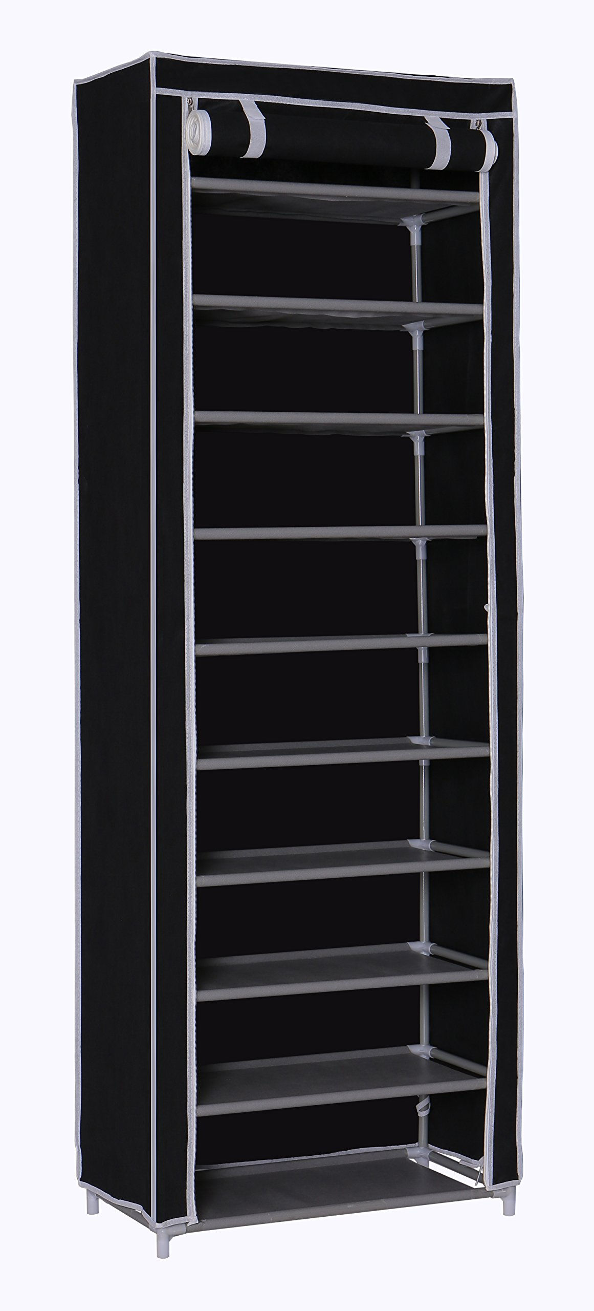 """Homebi 10-Tier Shoe Rack 30 Pairs Shoe Tower Closet Shoes Storage Cabinet Portable Boot Organizer with Dustproof Non-woven Fabric Cover and 10 Durable Shelves,24.2""""W x 12.4"""" D x 68.3""""H (Black)"""