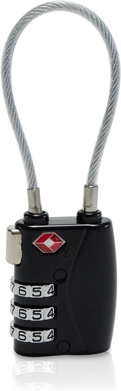 Zahlenschloss Kabelb/ügel aus Stahlseil Universalschloss Sicherung Reisegep/äck und R/äume Schwarz TSA Kompatibel