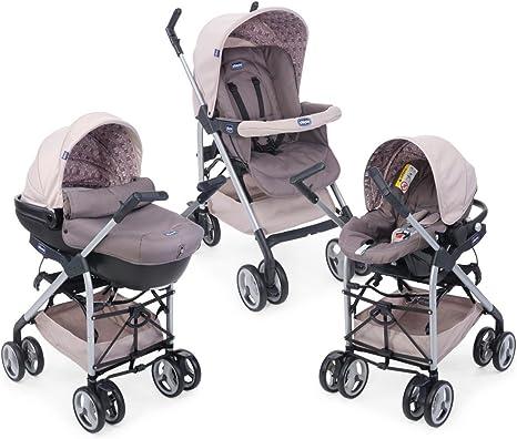 Chicco Trío Sprint Cochecito de paseo 3 en 1 con capazo, carrito y silla de coche, de 0 a 15 kg, color beige (Sandshell)