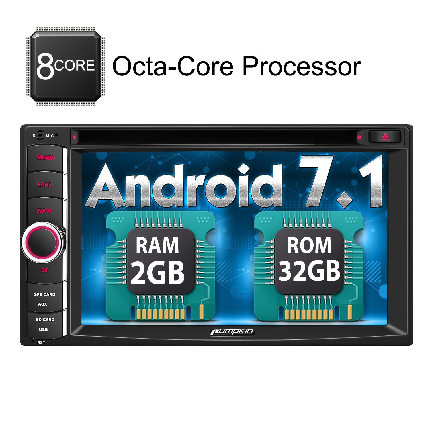 Android 7.1 Octa Core 32GB+2GB Double Din Car Stereo Radio with Bluetooth GPS Navigation DVD CD Player 6.2 inch Touch Screen - Support WIFI, MirrorLink, AUX, Backup Camera, USB SD, Dash Cam