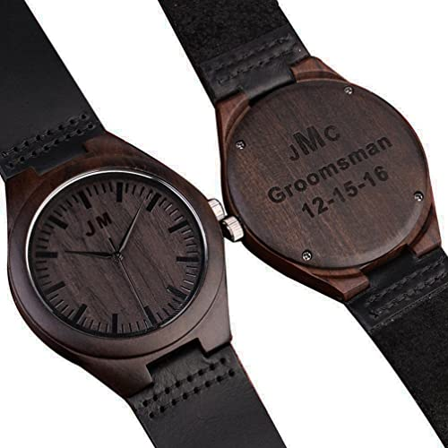 Custom Engraved Wooden Watches for Men Personalized Groomsmen Gifts Ideas Anniversary Gifts for Men Leather Strap