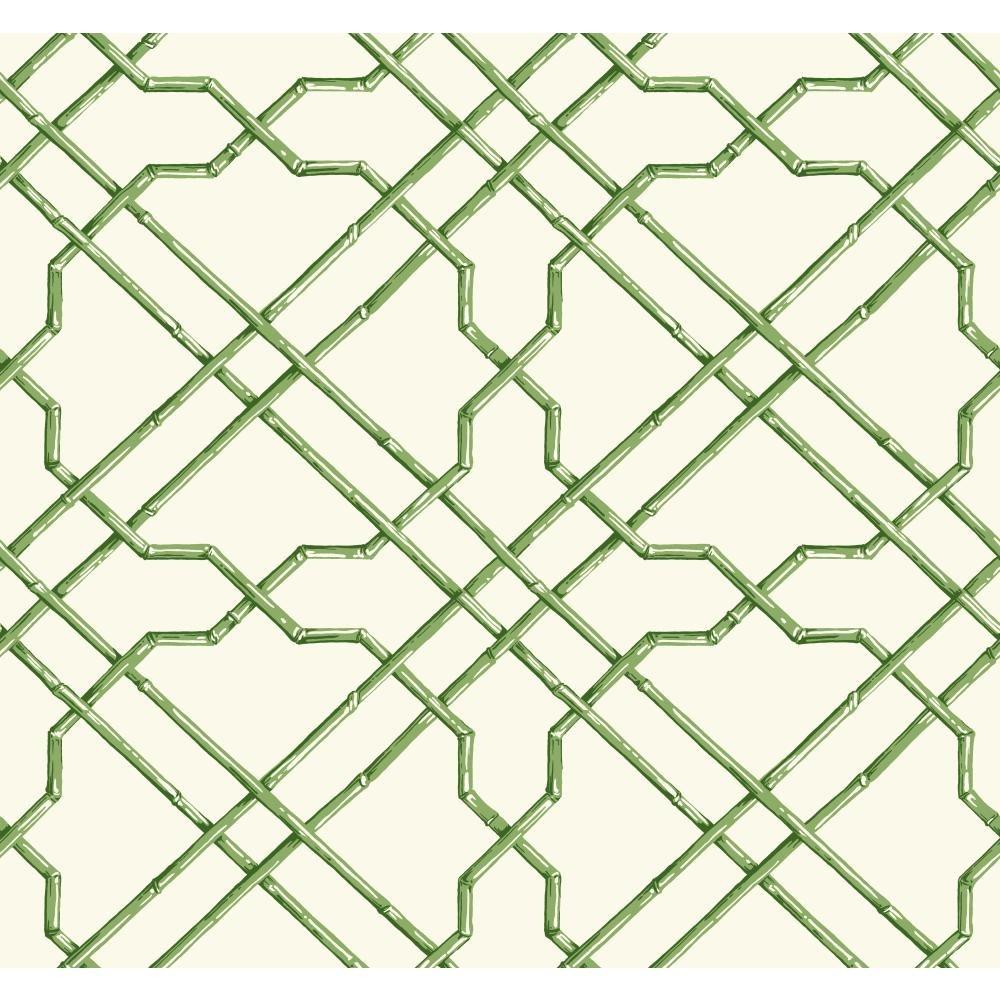 York Wallcoverings AT7075 Tropics Bamboo Trellis Wallpaper, White, Medium Green, Dark Green