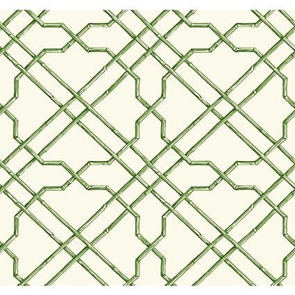 York Wallcoverings AT7075 Tropics Bamboo Trellis Wallpaper White Medium Green Dark