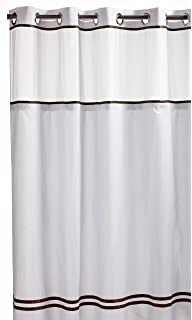 Hookless RBH40ES305 Fabric Shower Curtain With Built In Liner   White/Brown