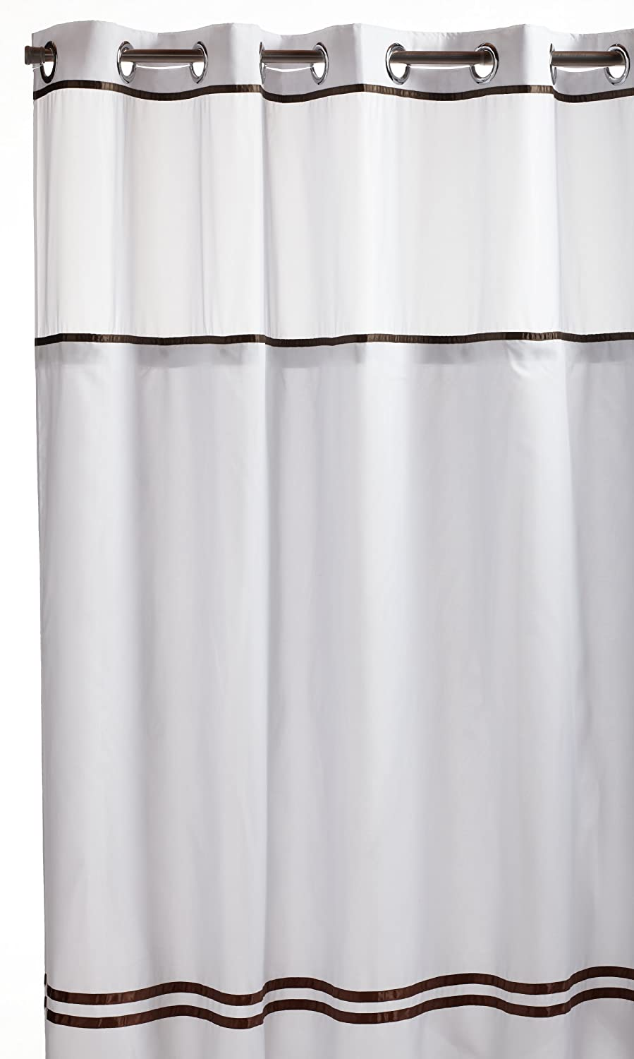 Hookless Fabric Shower Curtain With Built In Liner White Brown