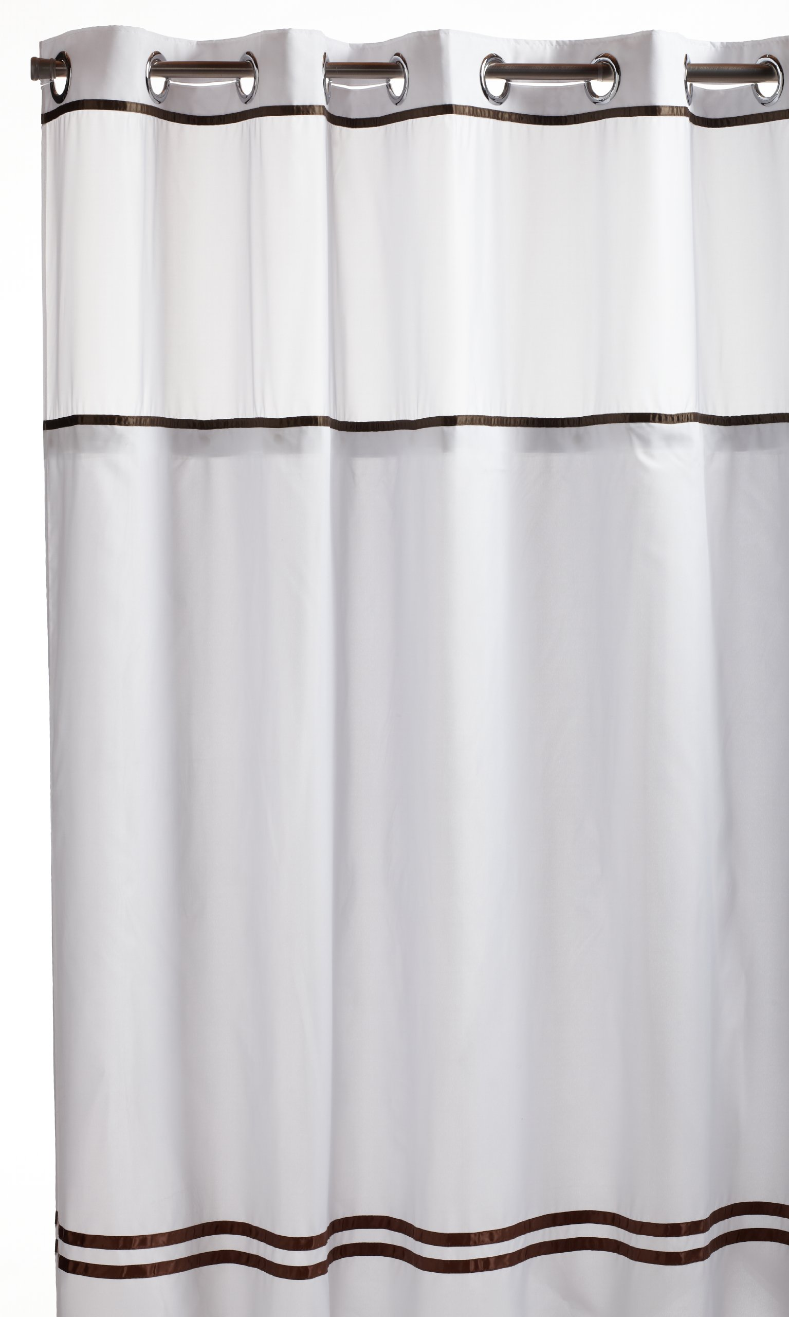 Arcs Angles Hookless RBH40ES305 Fabric Shower Curtain With Built In Liner