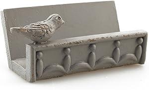 Desk Business Card Holder Stand Bird Design (Grey)