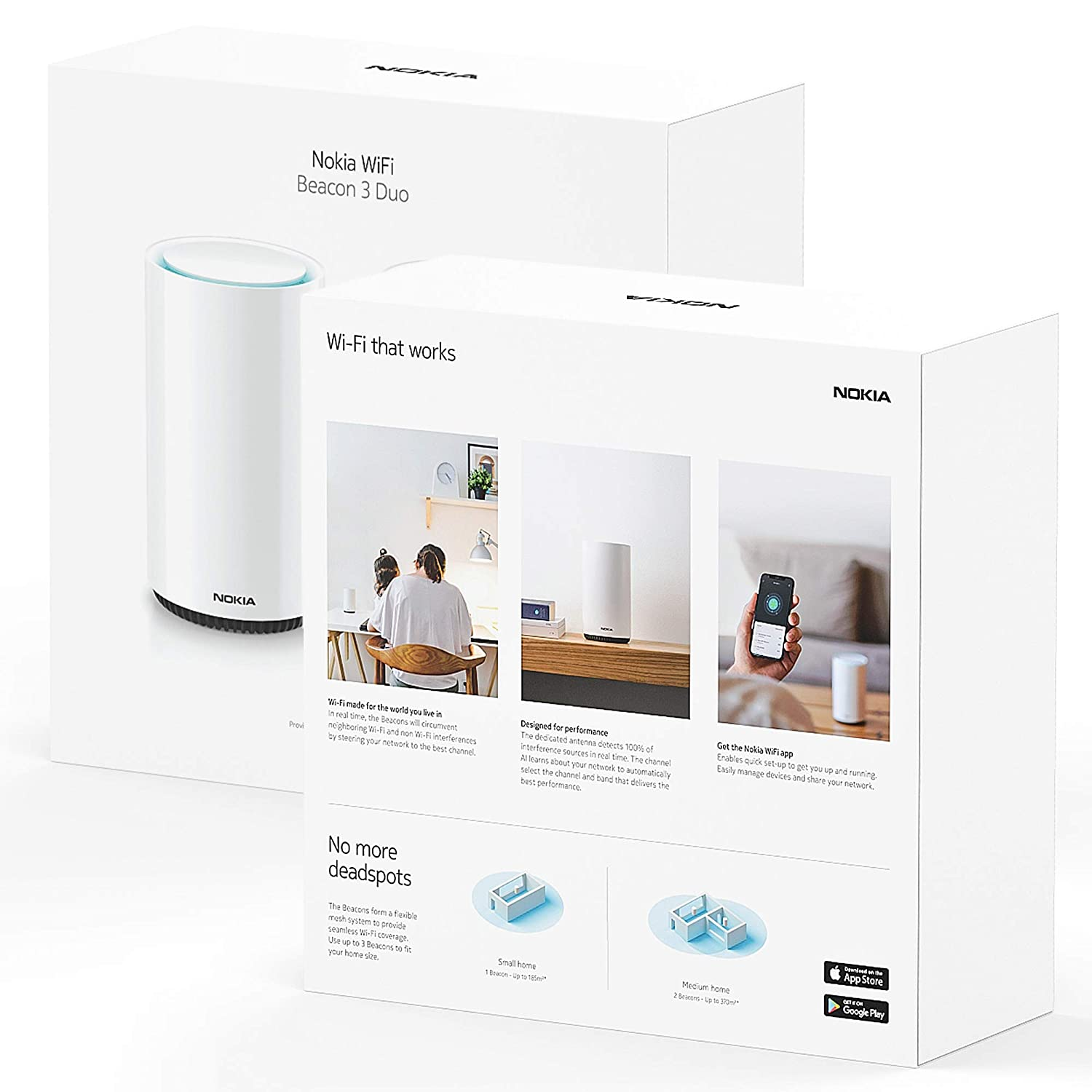 Single Nokia WiFi Beacon 3 Router System Intelligent 1-pack Connect Your Whole House Wifi Network ULTRA FAST Self-Healing Mesh Router System Seamless Whole Home WiFi Coverage Extender