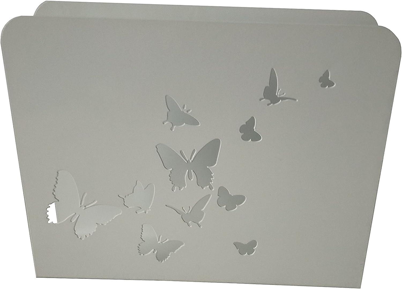 King Home Porte-revues Blanc Motif Papillons 30 x 8 x 23 cm