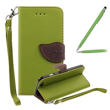 Huawei P8 Lite Funda,Huawei P8 Lite Carcasa - Felfy Huawei P8 Lite Naturaleza Leaf Estilo Cierre Magnético Cuero PU Billetera [Stand Feature] Flip ...