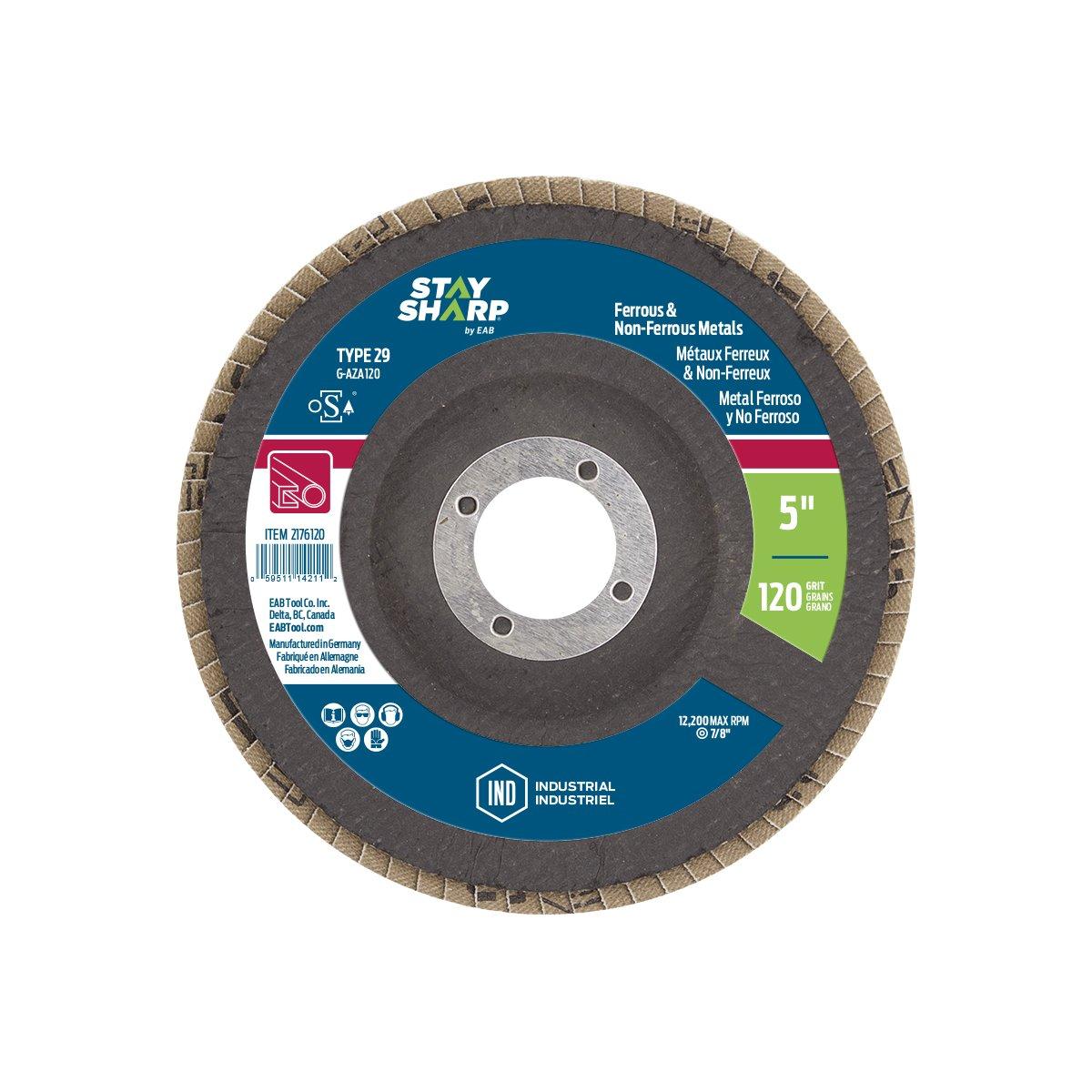 EAB Tool 2176120 5 x 120 Grit Standard Wood /& Metal Flap Disc Type 29 Professional Abrasive,