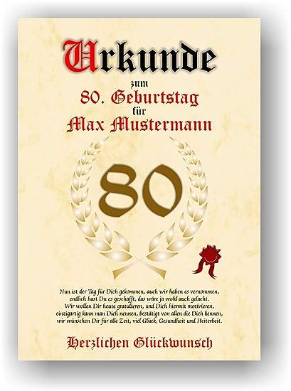 Urkunde Zum 80 Geburtstag Glückwunsch Geschenkurkunde Personalisiertes Geschenk Mit Name Gedicht Und Spruch Karte Präsent Geschenkidee Mann Frau