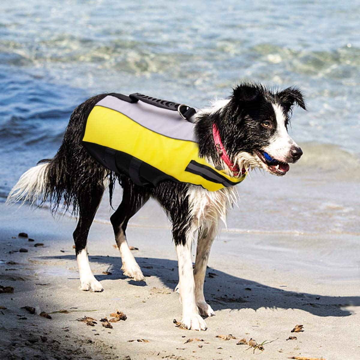 Large Raincoat Dog Life Jacket, Foldable Adjustable Pet Life Vest Safety Life Jackets for Dogs,Yellow (Size   L)