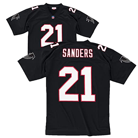 ce8e9590c Amazon.com   Atlanta Falcons Deion Sanders Premier Throwback Mitchell Ness  Replica Black Jersey   Sports Fan T Shirts   Clothing