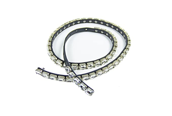 stili freschi economico per lo sconto prodotti di qualità Argento Antico Cintura gioiello in pelle e strass: Amazon.it ...