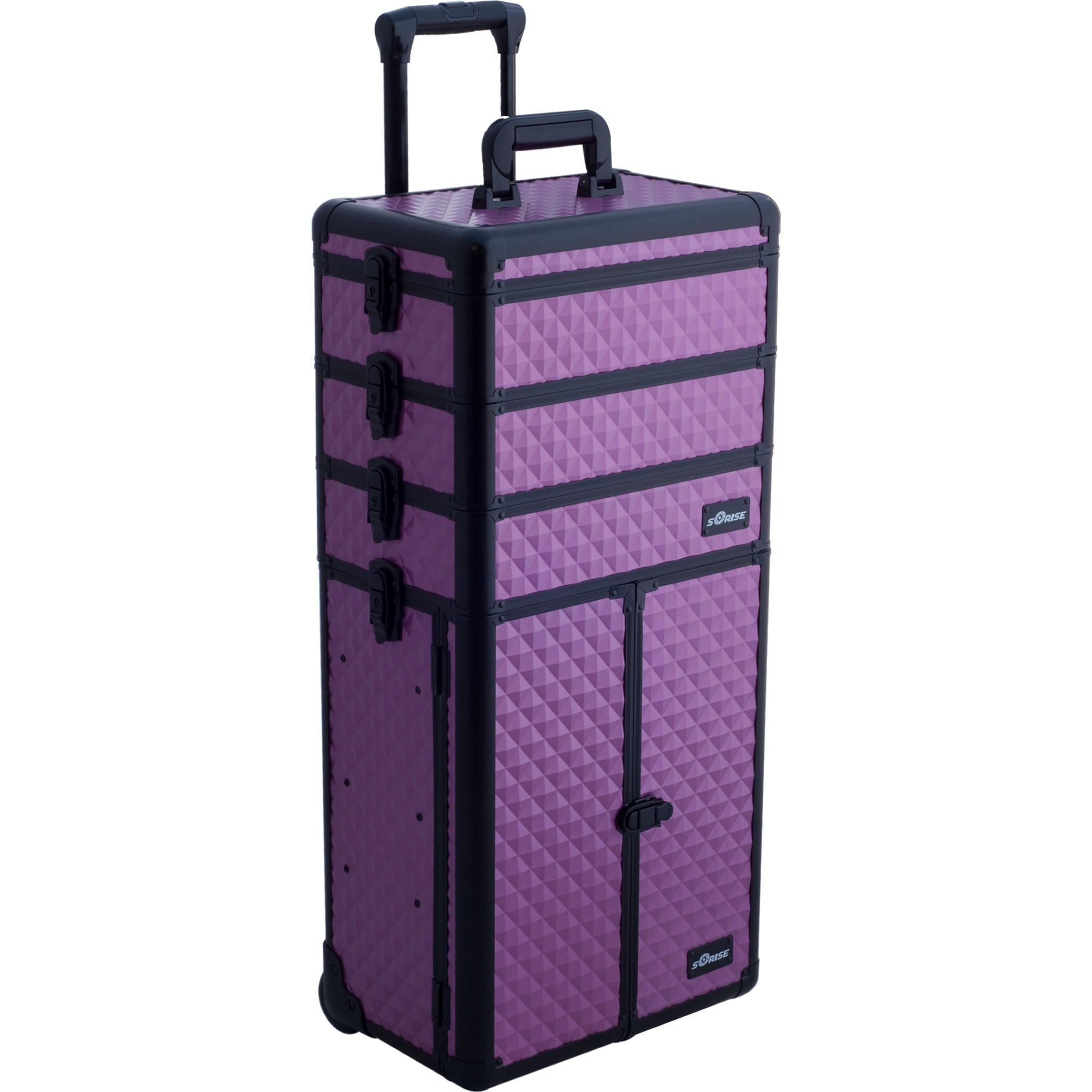 Sunrise Colonne 2-In-1 Rolling Makeup Case Professional Nail Travel Organizer Box, Purple Diamond, 25 Pound